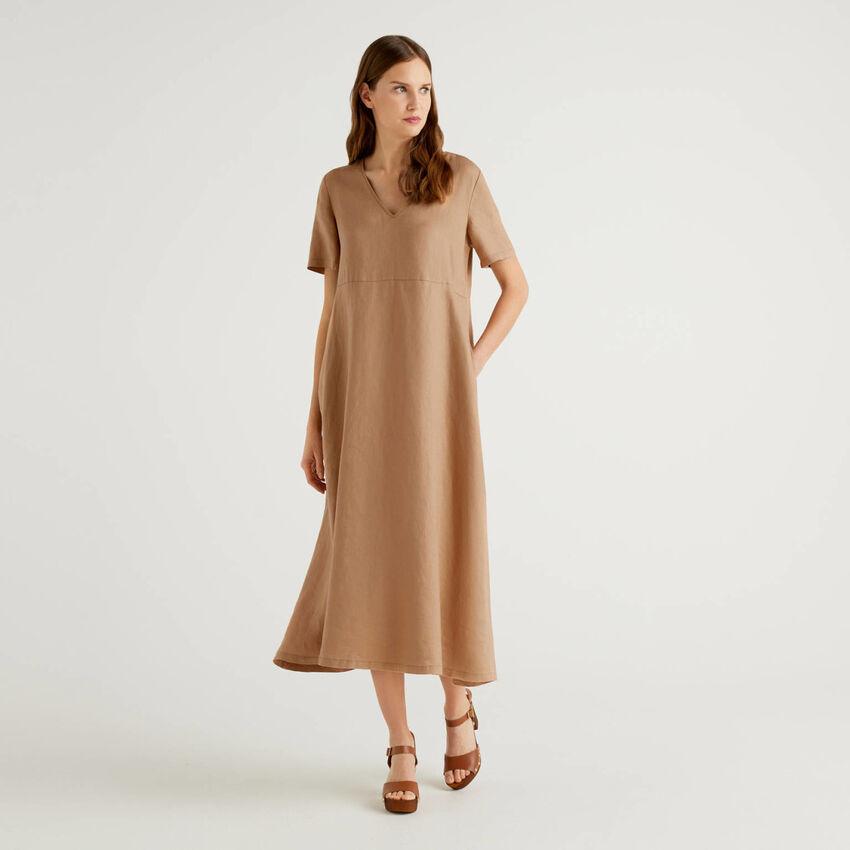 Vestido largo de 100% lino