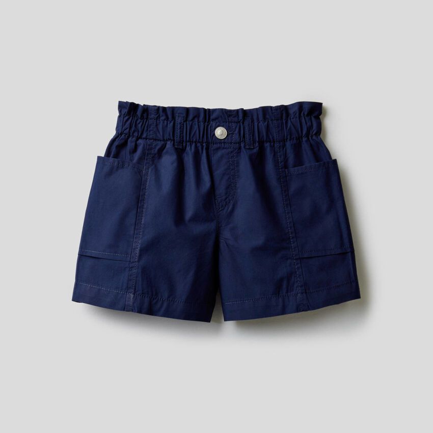 Pantalón corto paperbag de 100% algodón