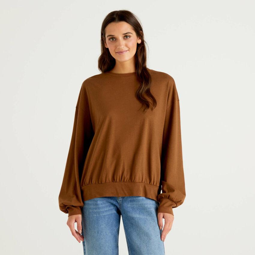 Blusa en tejido de punto de 100 % algodón