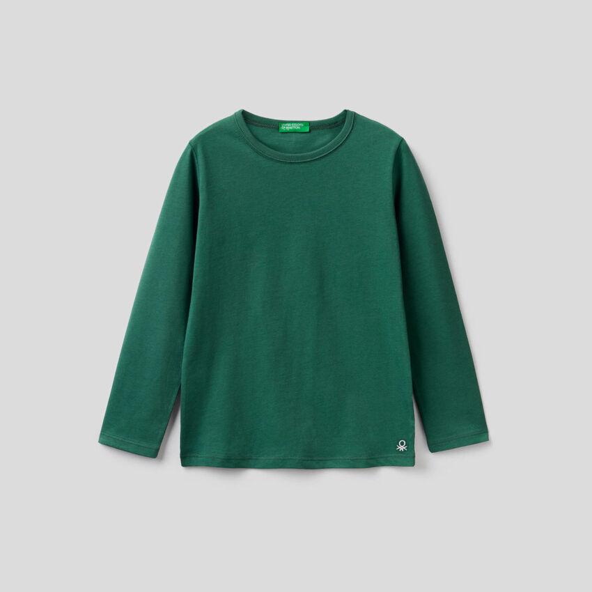Camiseta verde oscuro de manga larga