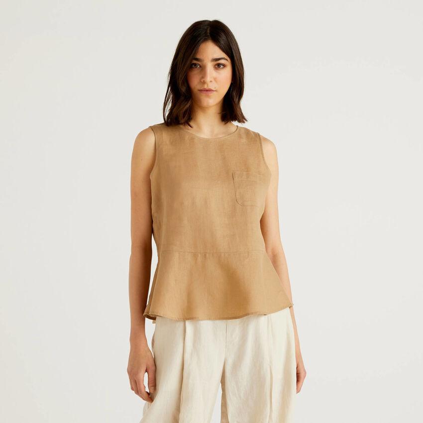 Blusa de puro lino sin mangas