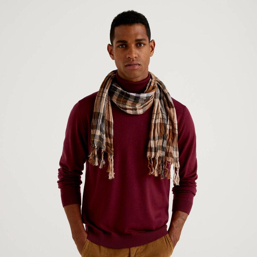 Bufanda de cuadros de 100 % algodón