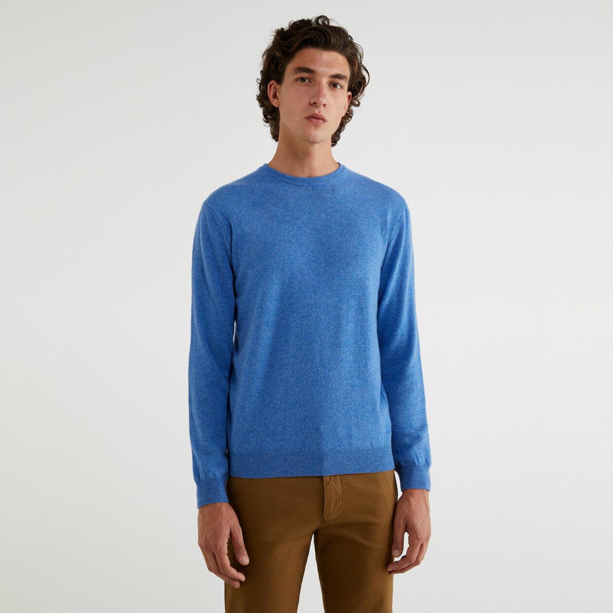 Jersey de cuello redondo de 100 % lana virgen