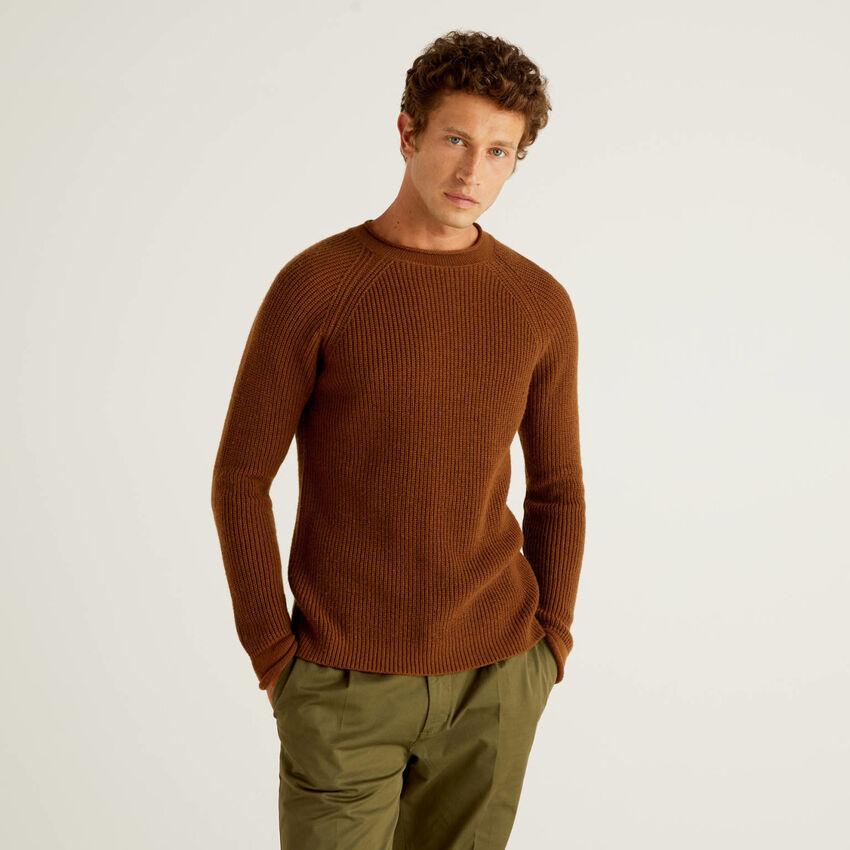 Jersey acanalado de lana mixta