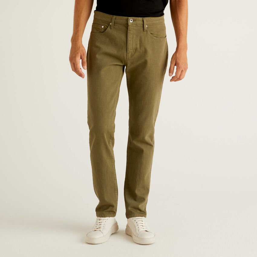 Pantalón de algodón elástico con cinco bolsillos