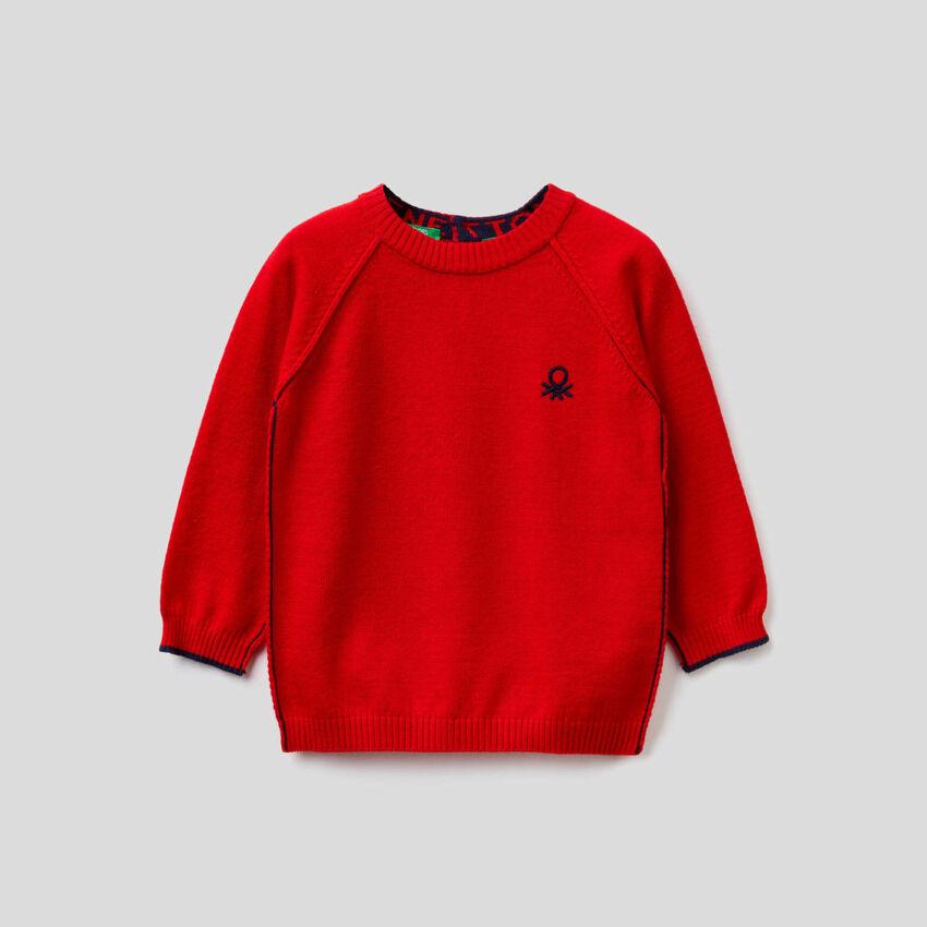 Jersey de cuello redondo con manga raglán