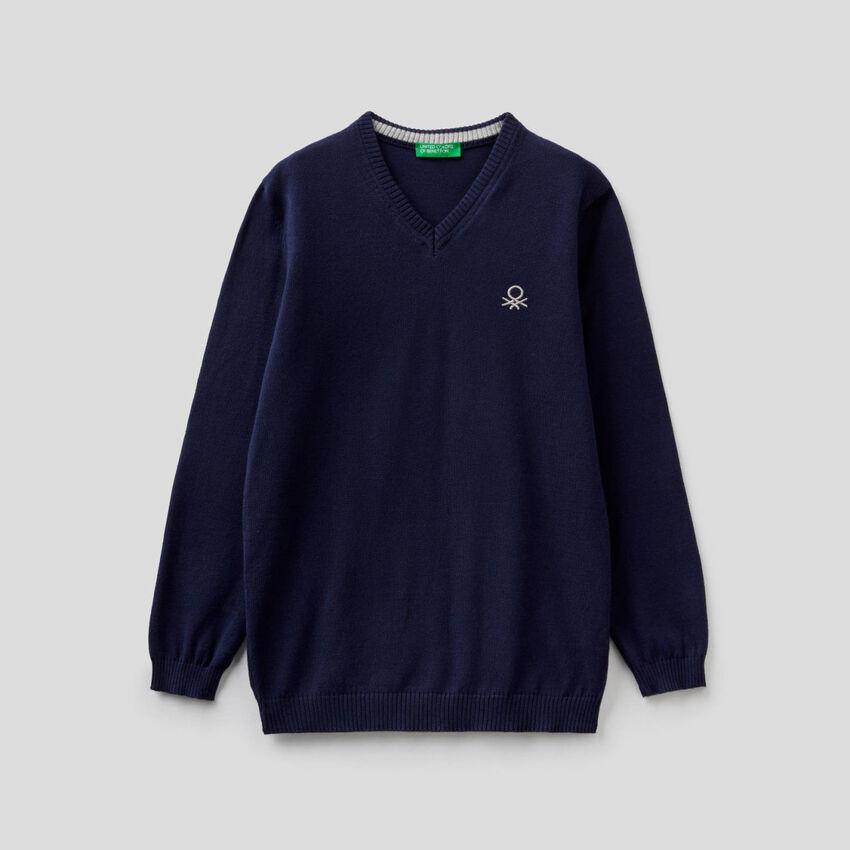 Jersey de 100 % algodón con escote de pico