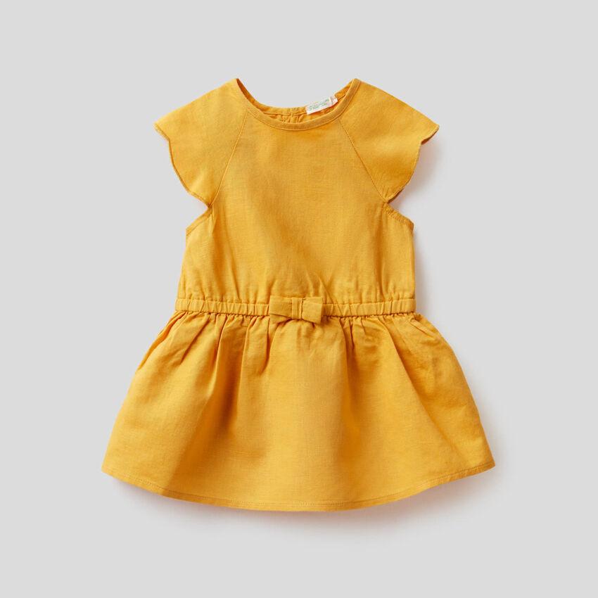 Vestido de lino mixto