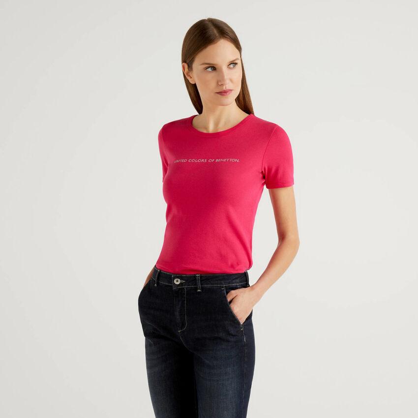 Camiseta de 100% algodón con estampado de logotipo con glitter