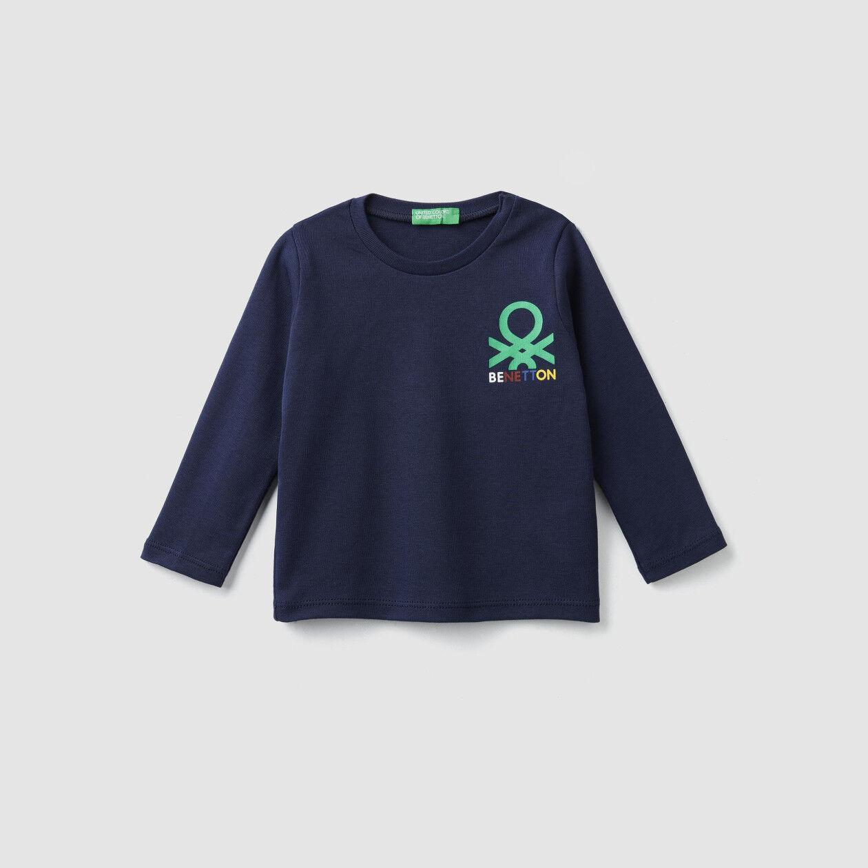 Camiseta acanalada con estampado de logotipo