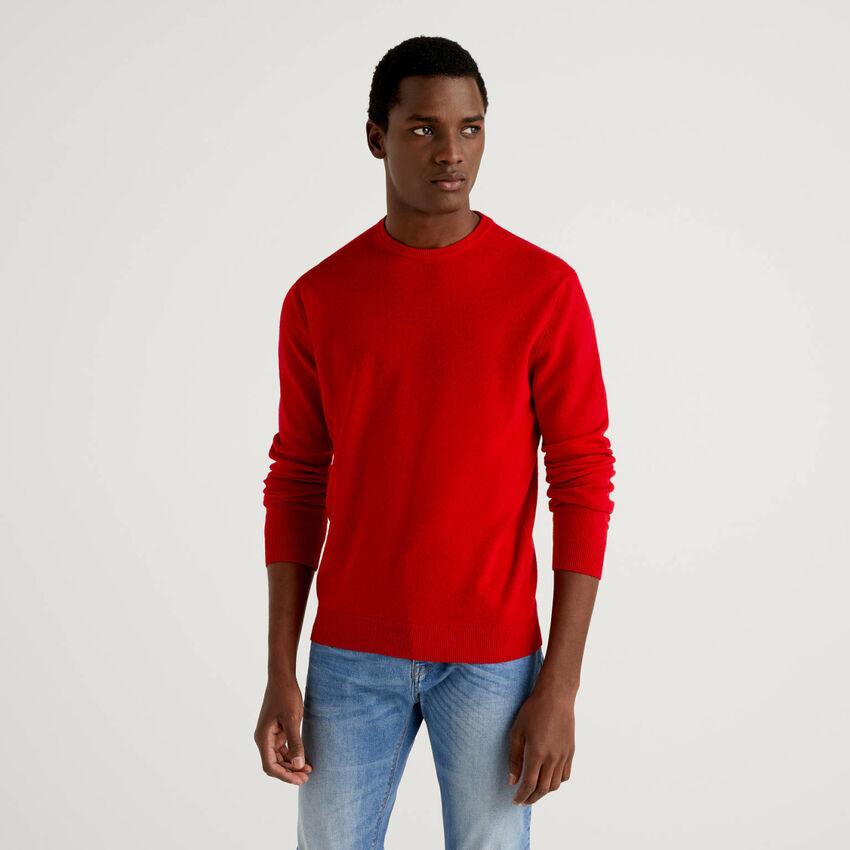 Jersey de cuello redondo rojo de pura lana virgen