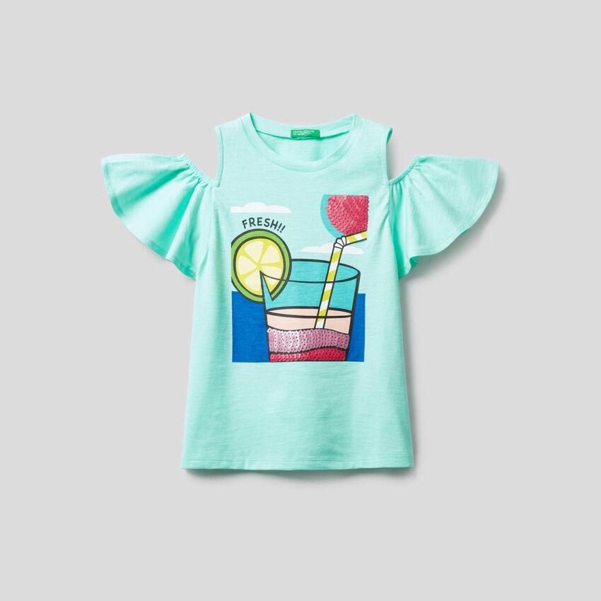 Camiseta con detalles de lentejuelas