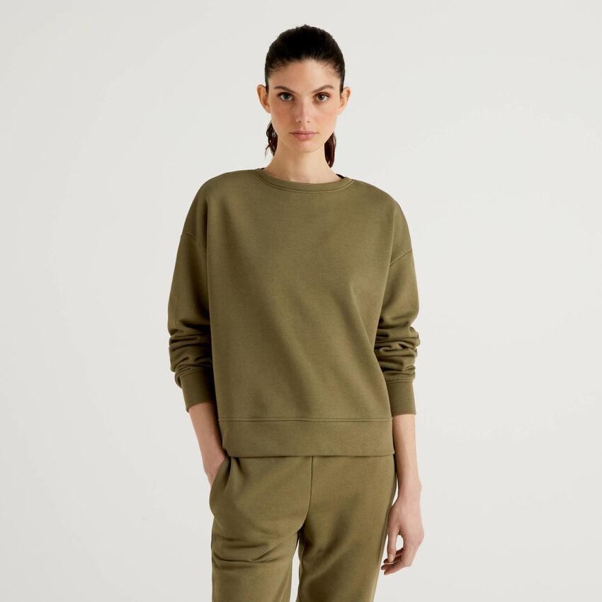 Sudadera de algodón mixto verde militar