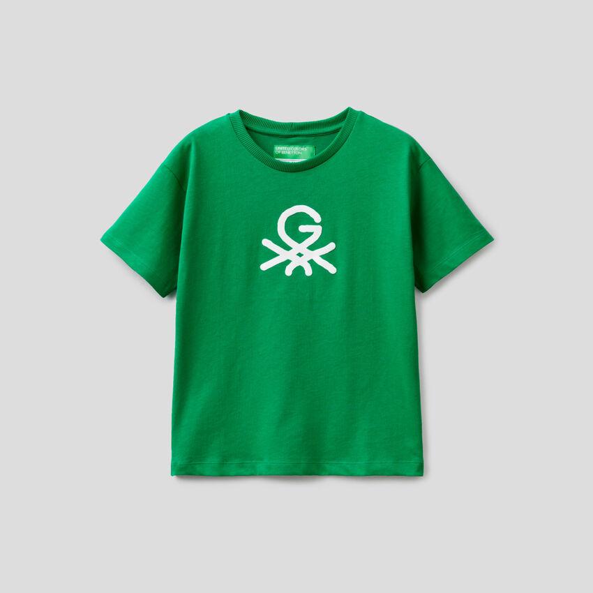 Camiseta verde unisex by Ghali con estampado