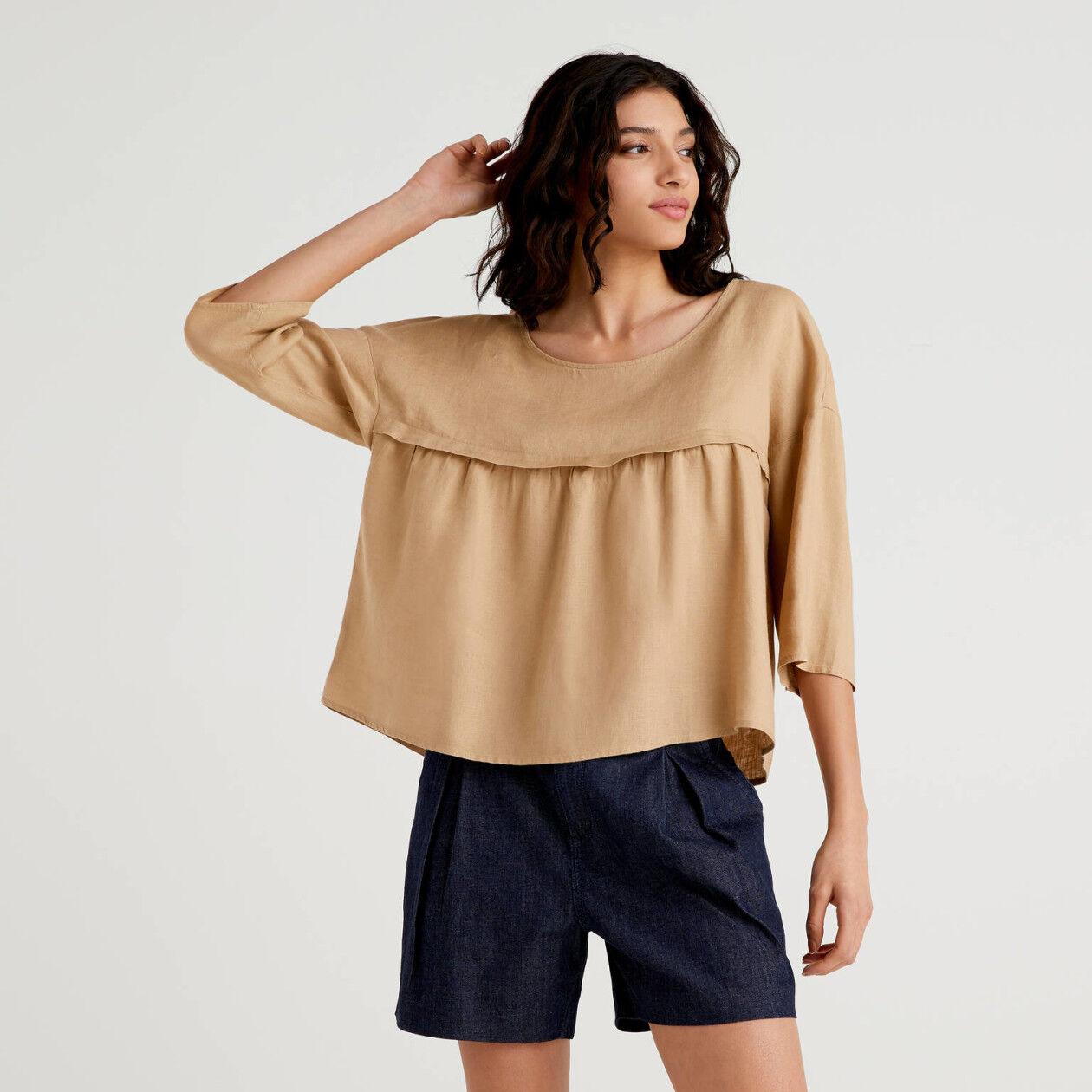 Blusa de 100% lino con volante