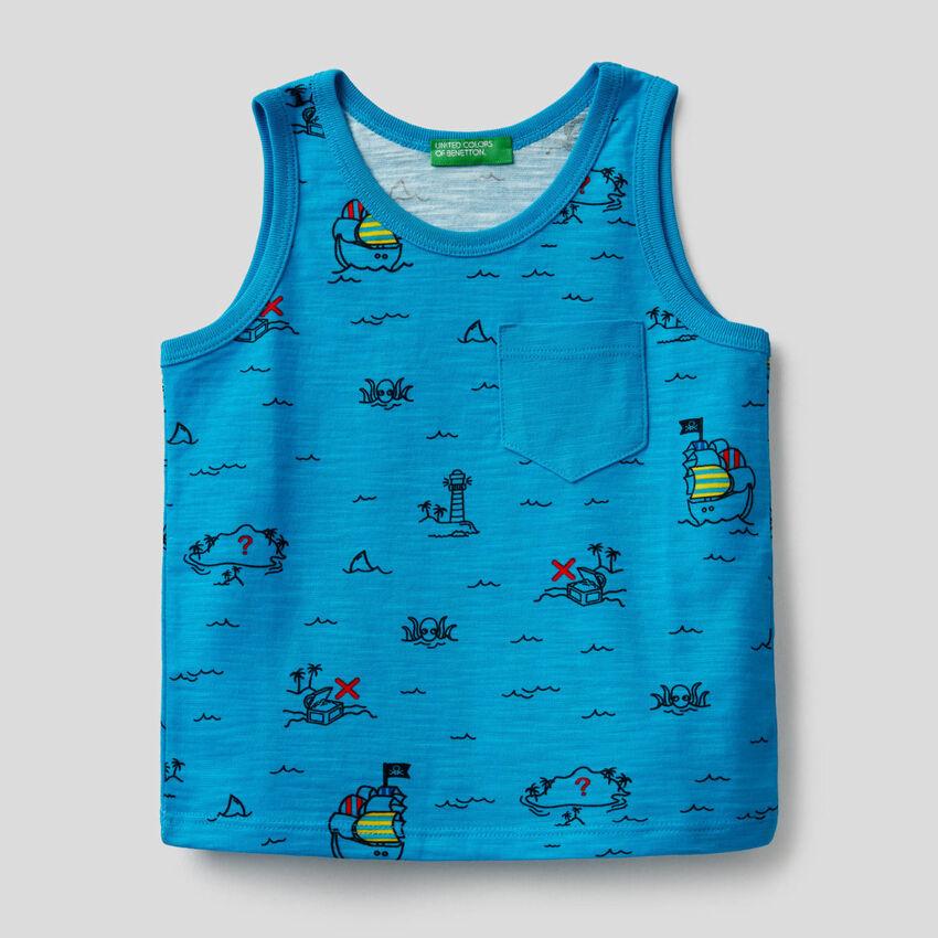 Camiseta de tirantes con estampado de isla del tesoro