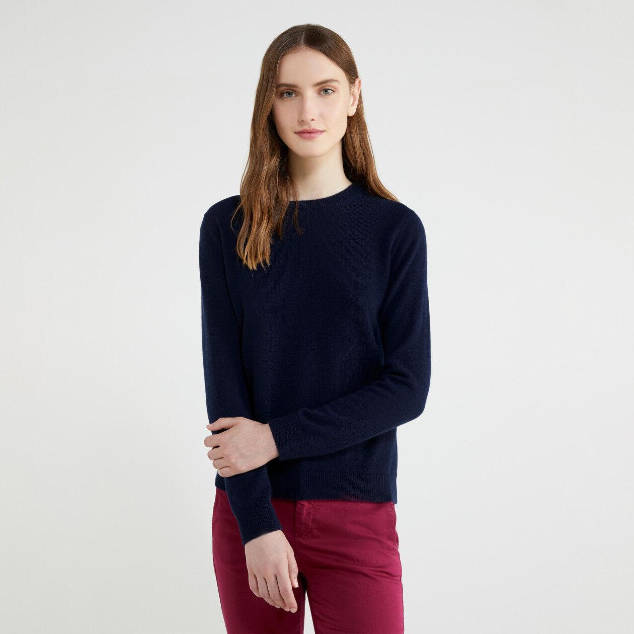 Jersey de cuello redondo de puro cachemir