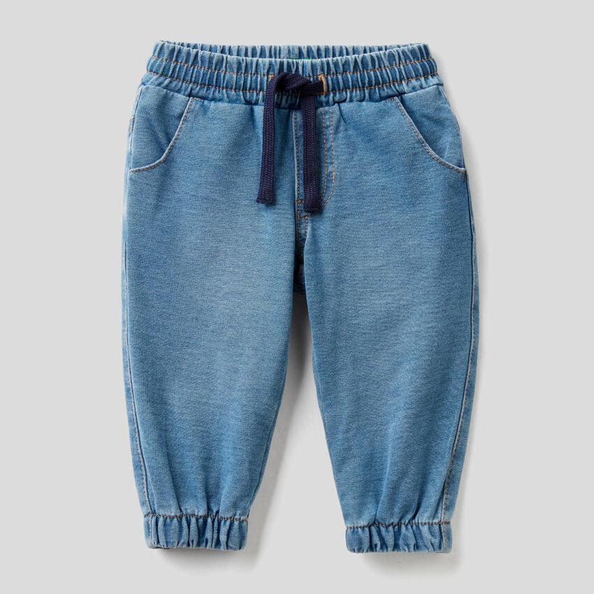 Pantalón de felpa de efecto denim