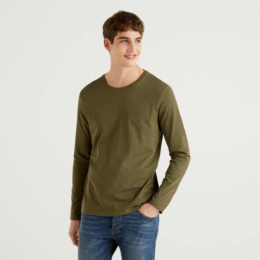Camiseta de manga larga de algodón puro