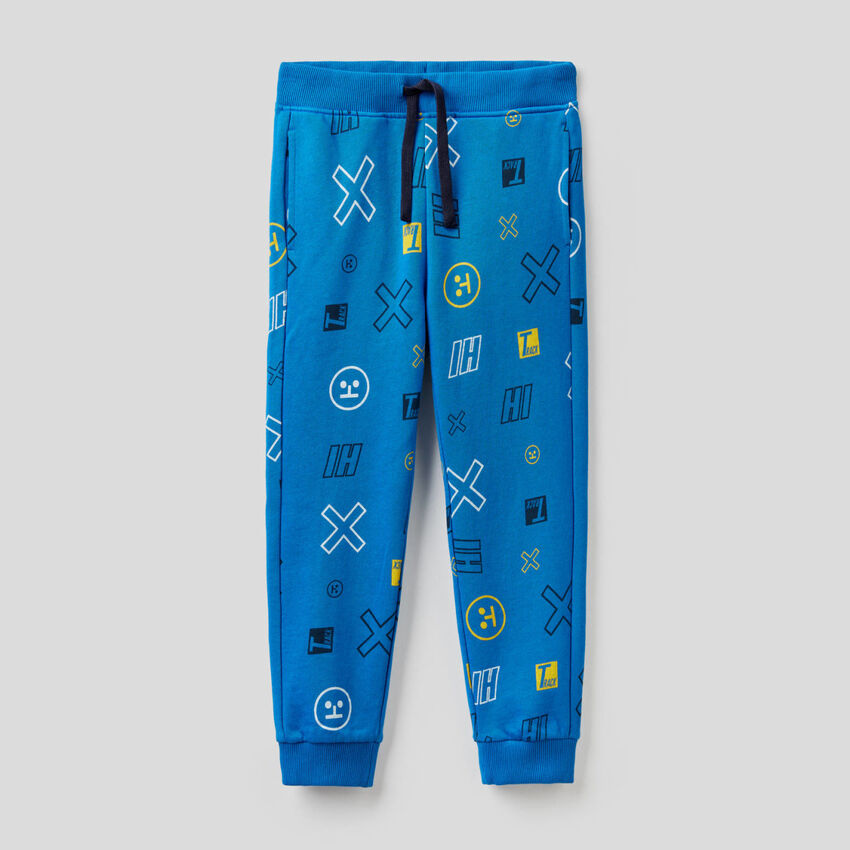 Pantalones de felpa con estampado fantasía