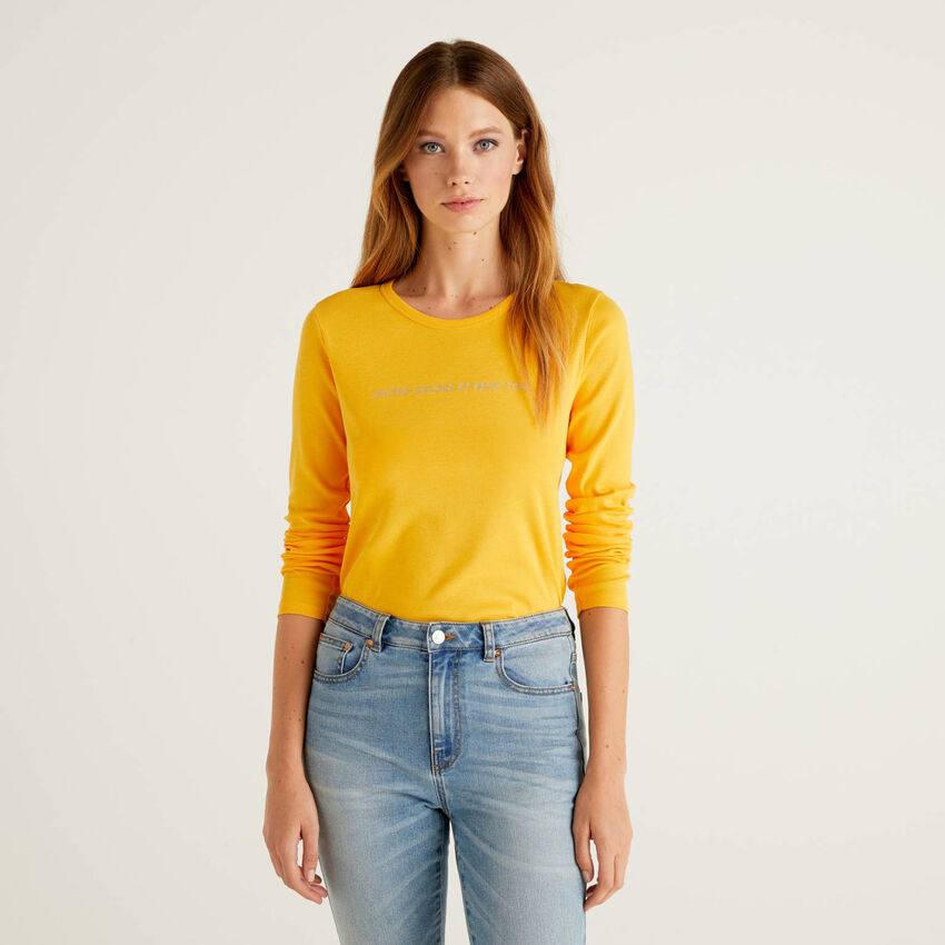 Camiseta amarilla de manga larga de 100 % algodón