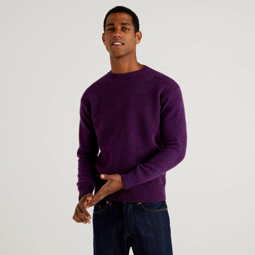 Jersey de cuello redondo de pura lana Shetland