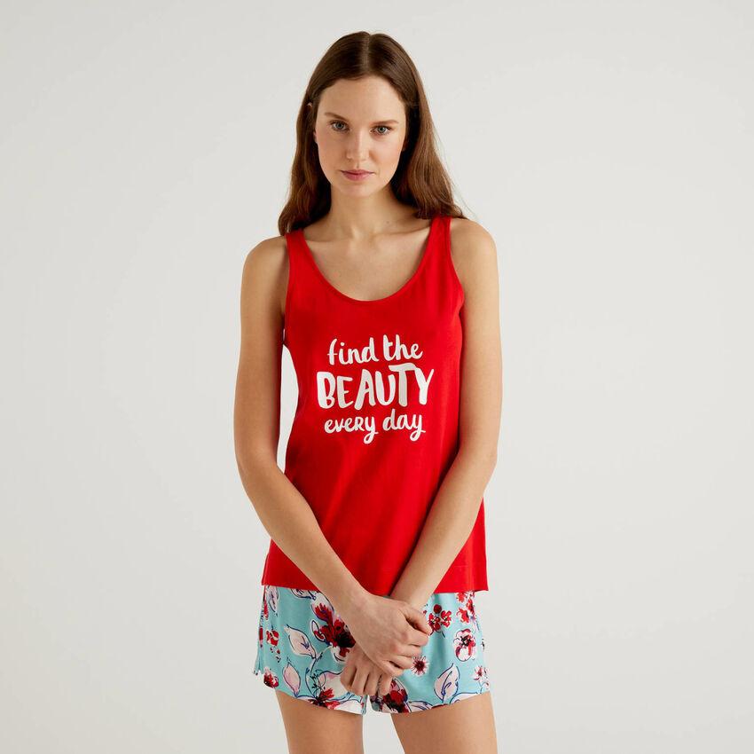Camiseta de tirantes con estampado de eslogan