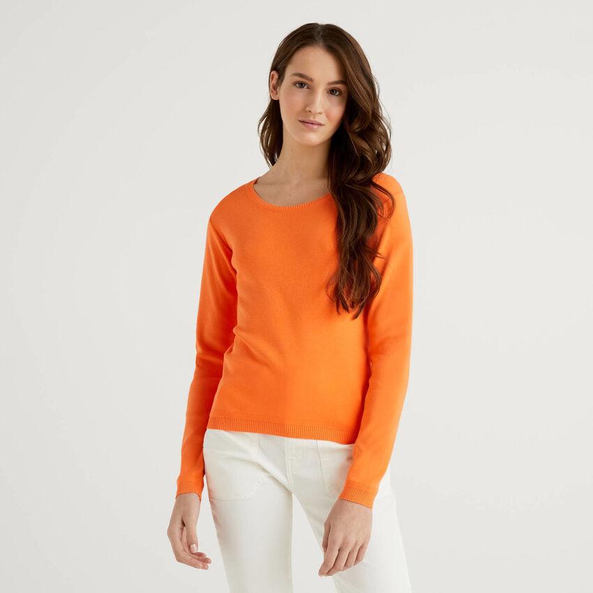Jersey de cuello redondo de algodón puro