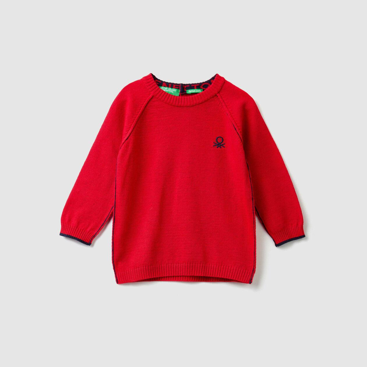 Jersey de cuello redondo de algodón y lana