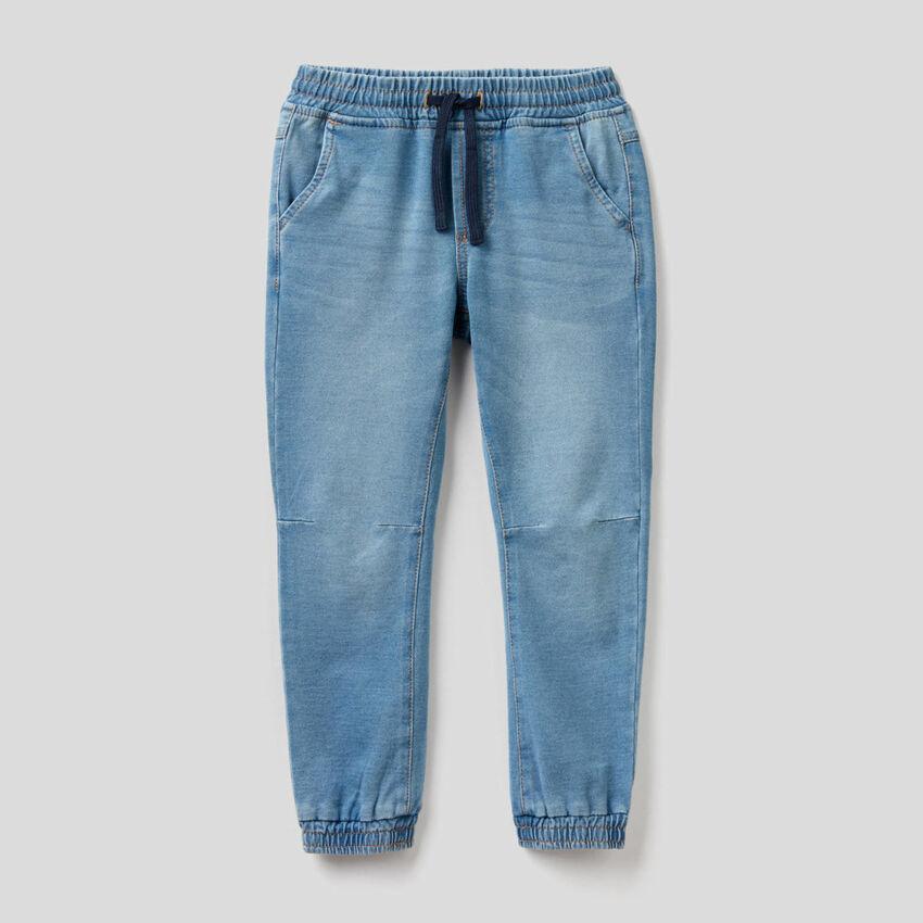 Pantalón deportivo de felpa de efecto denim