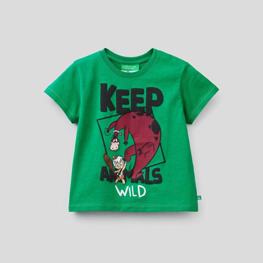 Camiseta verde con estampado de los Picapiedra