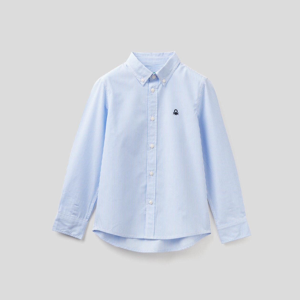 Camisa deportiva de rayas de algodón puro