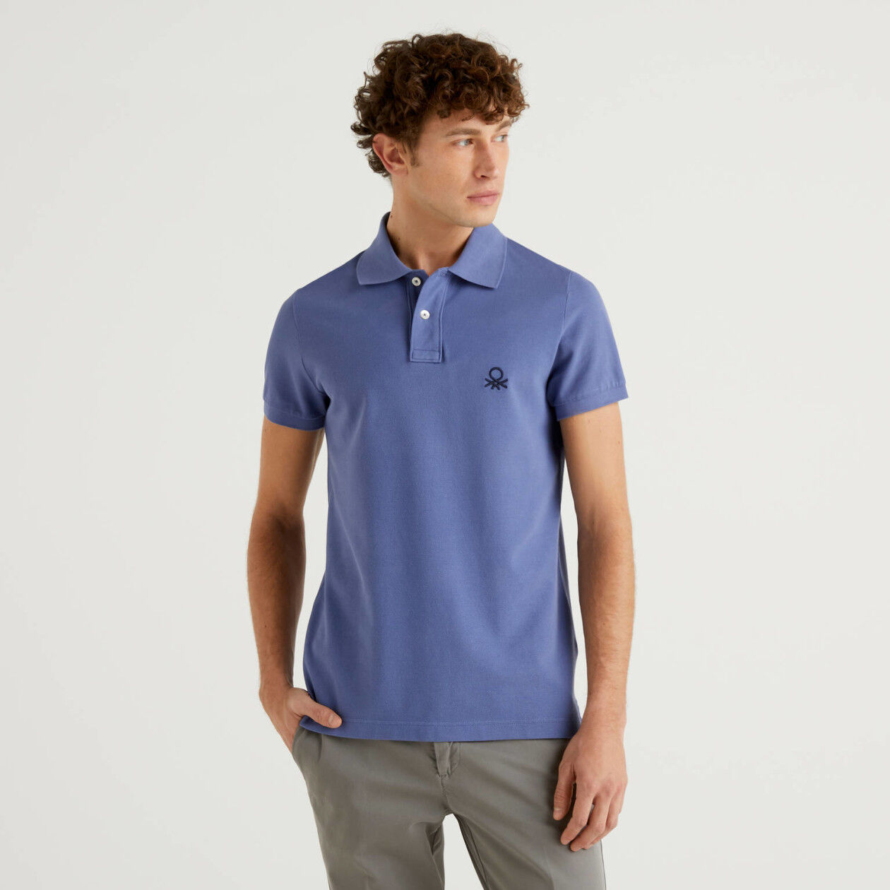 Polo slim fit azul