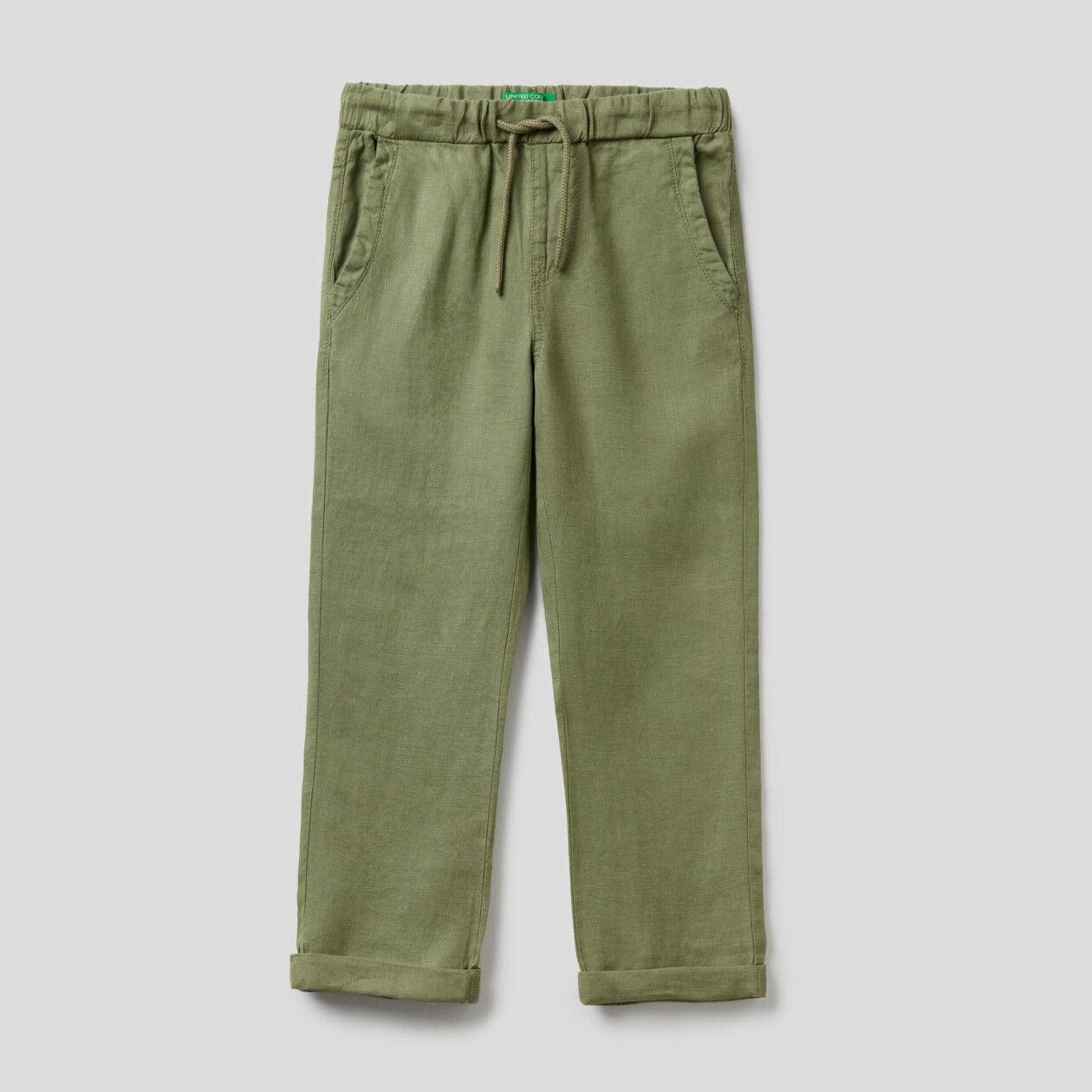 Pantalón de 100% lino con cordón de ajuste