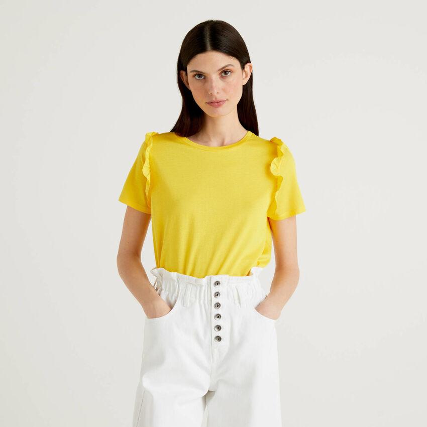 Camiseta de 100% algodón con volantes