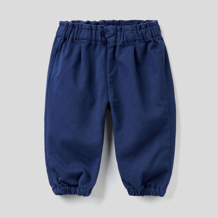 Pantalón de algodón mixto con lazo