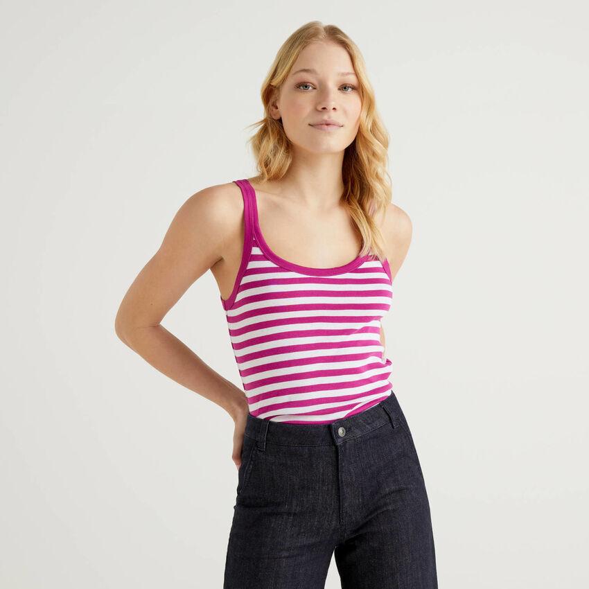 Camiseta de tirantes de rayas ciruela de 100 % algodón