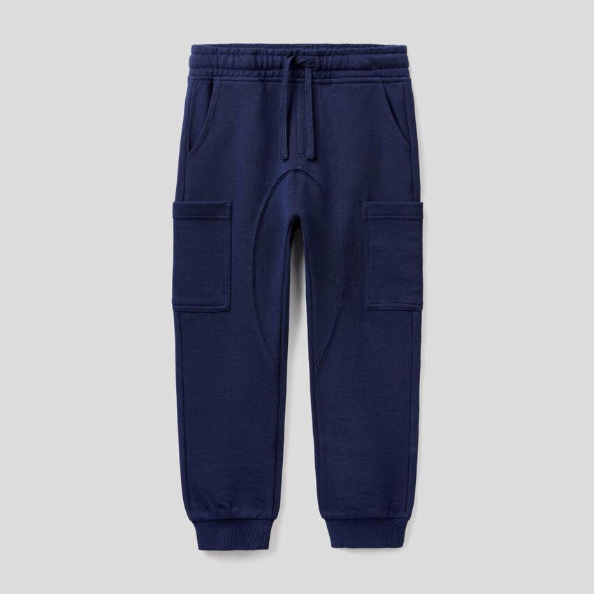 Pantalón cargo en felpa de 100 % algodón