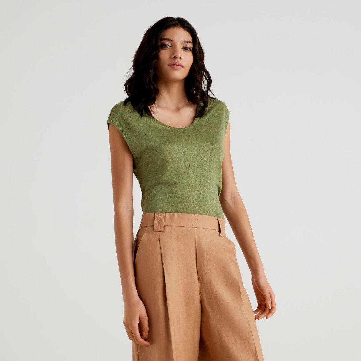 Camiseta de lino de manga corta