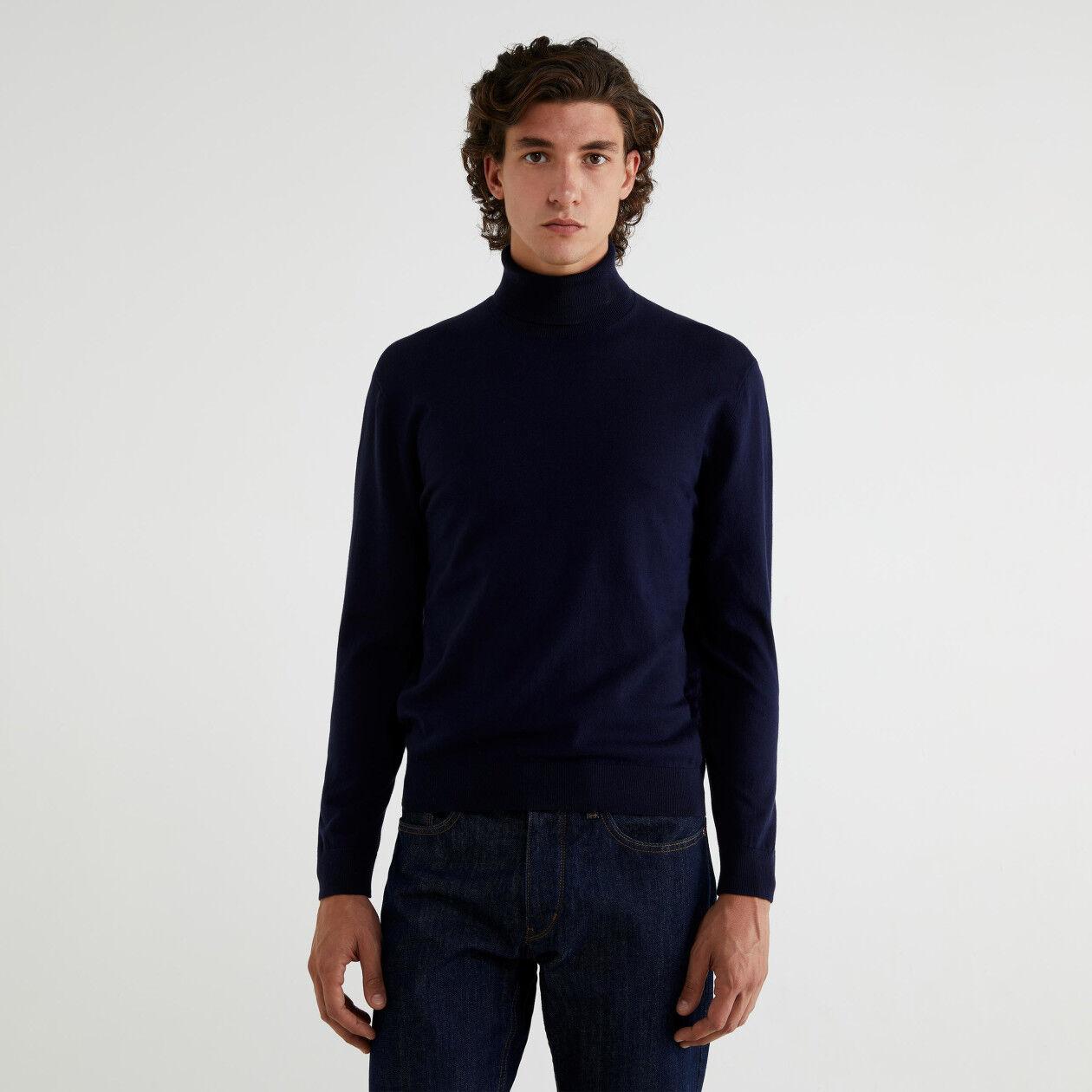 Jersey de cuello cisne de algodón tricot