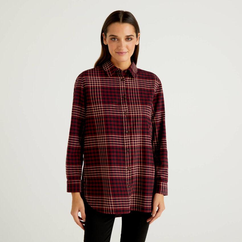 Camisa larga de cuadros de 100 % algodón