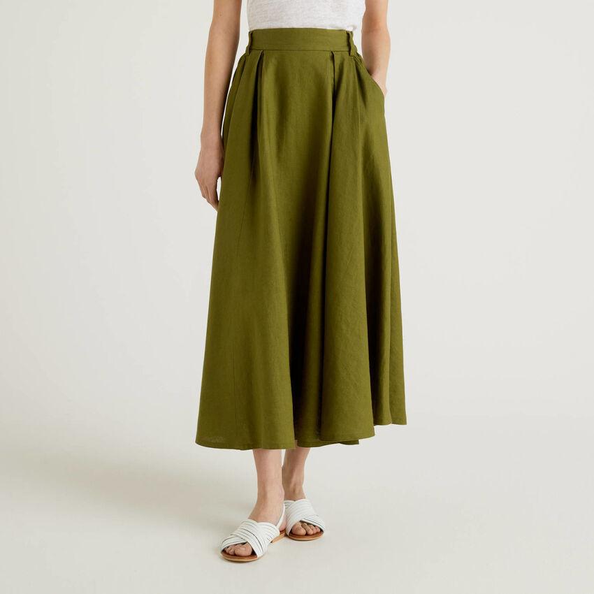 Falda larga de 100% lino