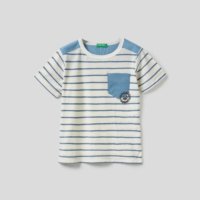 Camiseta de rayas en mezcla de algodón y lino