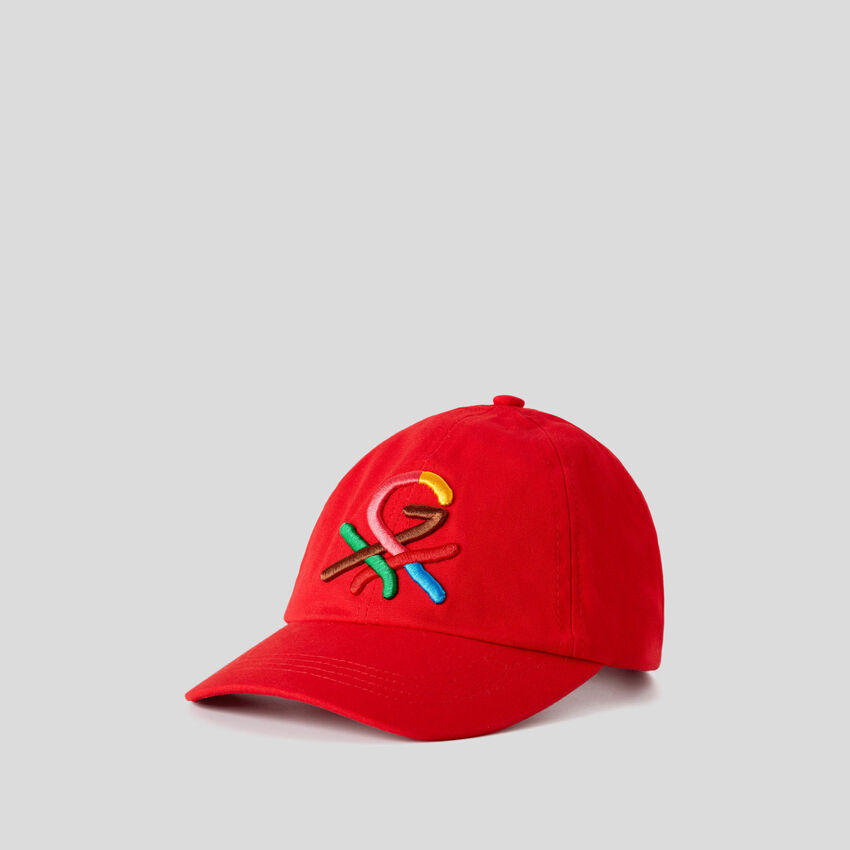 Gorra roja con logotipo bordado by Ghali
