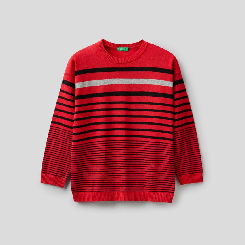 Jersey de rayas en mezcla de algodón y lana