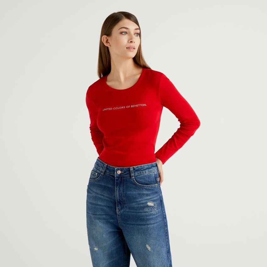 Camiseta roja de manga larga de 100% algodón