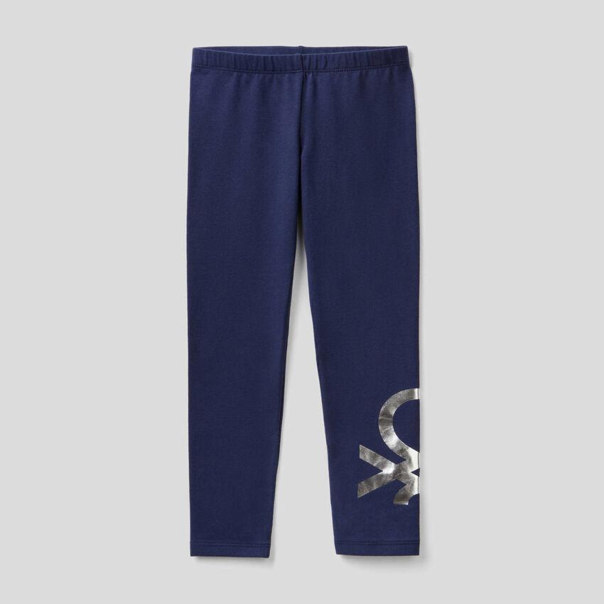 Leggings azul oscuro de algodón elástico